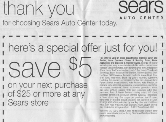Sears has an odd way of showing its gratitude. Scroll down for more detailed image.