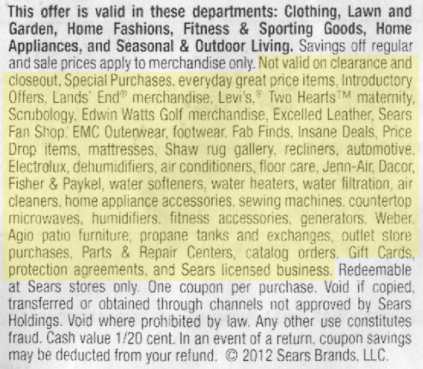 The numerous restrictions on this coupon are highlighted in yellow.
