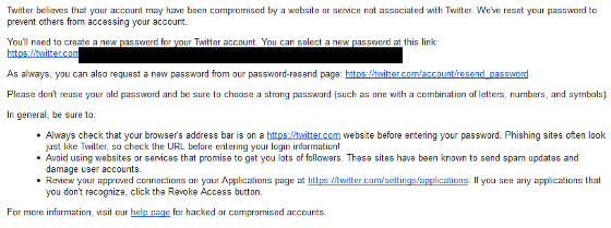Twitter's e-mail to affected users.