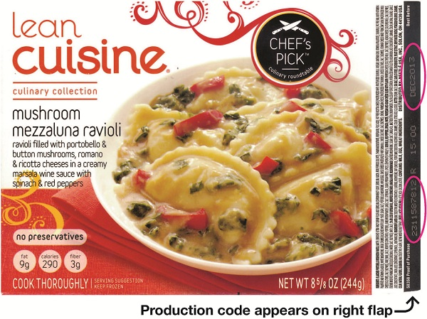 The recalled ravioli, along with details on where to locate the production codes on the box.