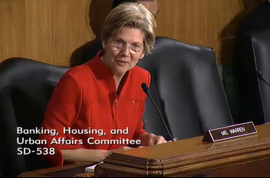 On Feb. 14, Sen. Elizabeth Warren grilled bank regulators on their failure to take banks to trial.