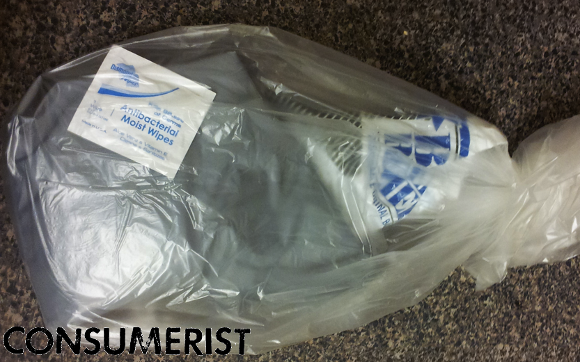 The bagged-up bag of urine Mark says was left behind by an AT&T installer.