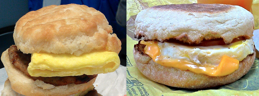 The folded egg-like thing on the biscuit sandwich (left) can be replaced by the fresh-cooked egg usually reserved for the McMuffin. (Photos: Morton Fox, Morton Fox)