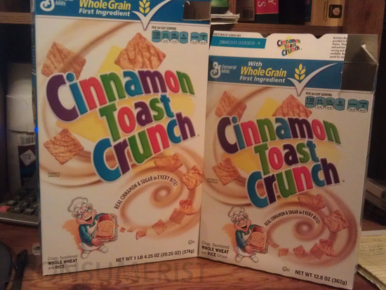 Why Does Cinnamon Toast Crunch's Whole Grain And Sugar Content Differ In A Smaller Box?