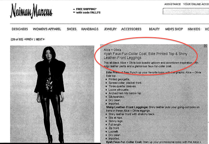 "One of the three ""faux fur"" items sold on the Neiman Marcus website that allegedly contained real fur."