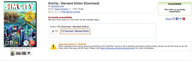 Amazon Pulls SimCity 5 Downloads Amid Furor Over Constant