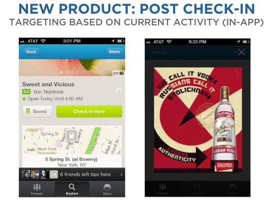 Check in at a bar on Foursquare, and maybe it will serve you up a vodka ad.