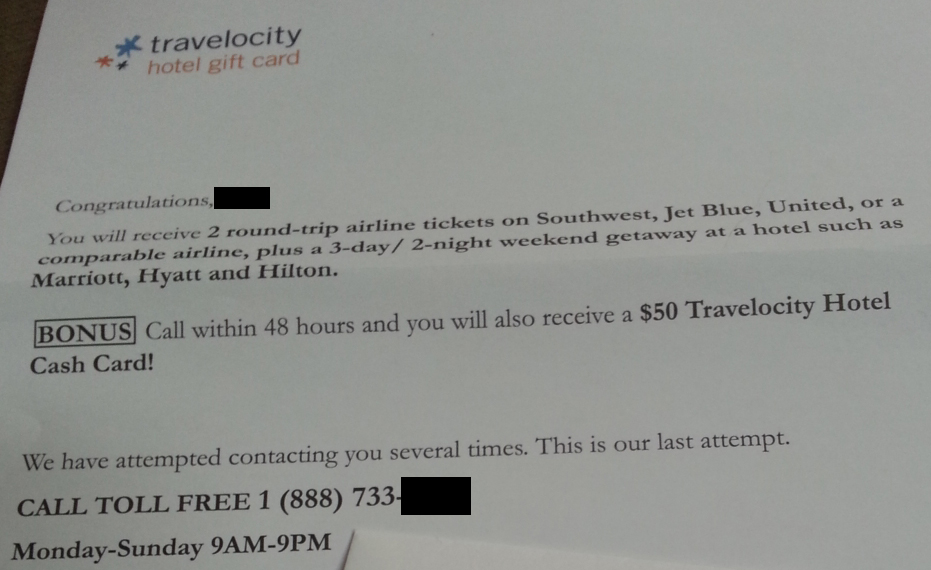 No you did not randomly win a vacation from travelocity consumerist travelocityscam1 spiritdancerdesigns Choice Image