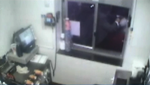 McDonald's surveillance cameras caught the incident on tape.