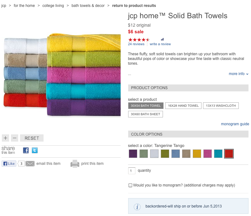 Once people realized 1 washcloth + 1 towel = $10, they rushed to buy as many washcloth/towel pairings as possible.