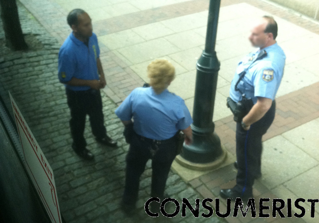 The Megabus driver talking to the police in Philadelphia this morning.