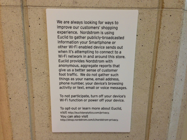 A sign posted about the wifi tracking system at a Nordstrom in Dallas. (via CBS 11)
