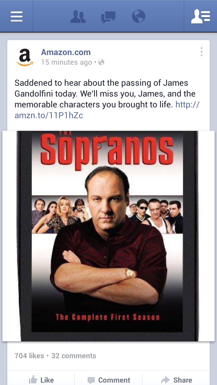 Amazon Marks The Passing Of James Gandolfini By Trying To Sell Sopranos DVDs
