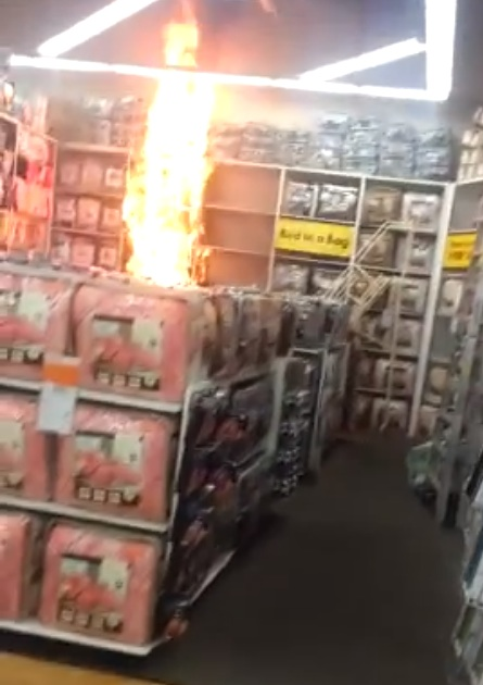 Bed, Bath And Beyond Display Bursts Into Flames, Caught On Camera By Customer
