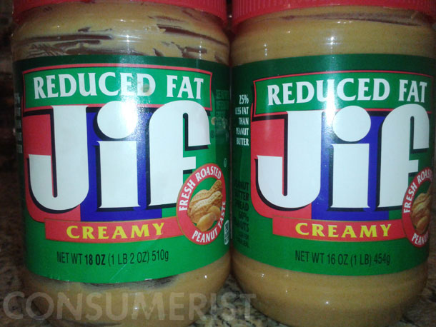 Jif Scoops Two Ounces Out Of Reduced Fat Peanut Butter Spread Jar