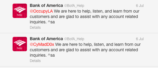Just two of the auto-Tweeted responses to people who weren't trying to get help with BofA accounts. See the full Twitter discussion below.
