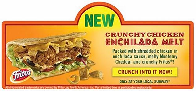 Crunchy Chicken Enchilada Melt Filled With Fritos Spotted At… Subway?