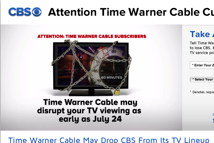 CBS has already launched an anti-TWC website aimed at blaming the cable company for the looming blackout.