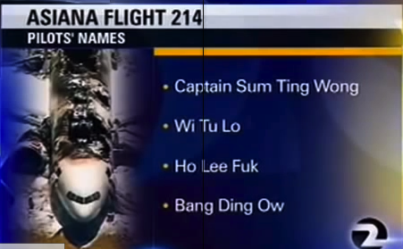 Asiana Airlines originally threatened to sue KTVU after it broadcast this list of blatantly fake and offensive pilot names.