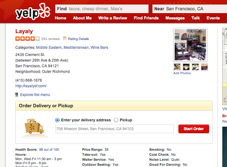A screengrab of what Yelp's new online-ordering system looks like.