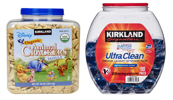 Costco's Kirkland Signature foods, like the animal crackers on the left, are packaged in screw-top containers, unlike the Kirkland detergent pods with a lid that merely pulls off.
