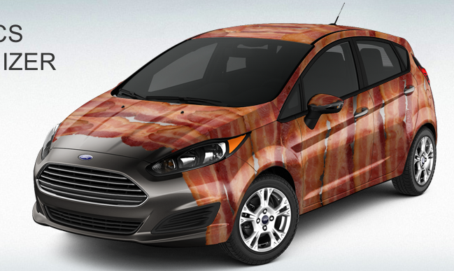 This is not a joke. Ford actually has several bacon-themed graphics packages for the new Fiesta.