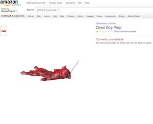 A very tiny screen shot of Amazon's listing for the Dead Dog Prop, which has since been pulled.