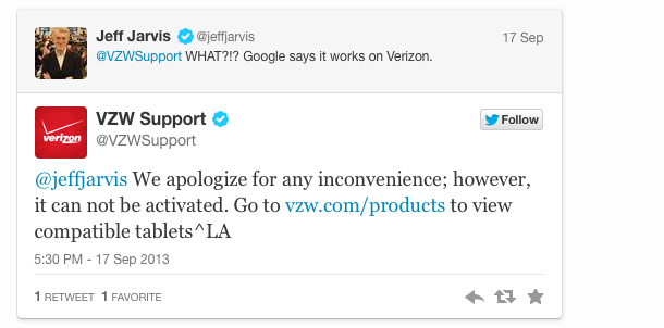One of writer Jeff Jarvis's many fruitless interactions with Verizon support.