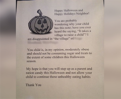 "Woman Takes It Upon Herself To Hand Out Letters To ""Obese"" Trick-Or-Treaters"