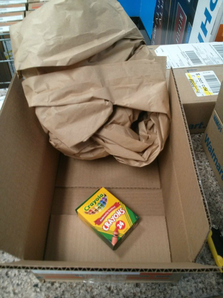 This is just one of the 50 boxes, each containing a single pack of crayons that awaited a Walmart.com customer. Scroll down to see all the boxes. (Reddit)