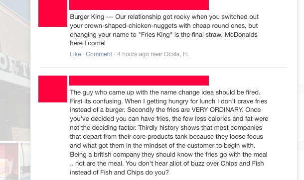 Two angry customers provide some historical context for why they are upset about a completely fictional name change (to a fast food restaurant, of all places).