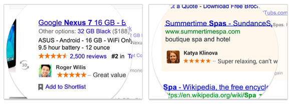 "Examples of what Google's  ""Shared Endorsements"" look like."