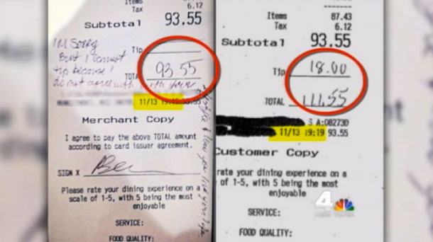 "The receipt on the left is the version the waitress posted to Facebook, which shows no tip and a note saying the customers disapprove of the waitress' ""lifestyle."" On the right is a copy of the receipt provided by the customers to NBC News, which they claim shows they left a 18% tip."