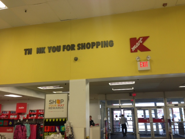 This definitely expresses the level at which most Kmart staffers seem to give a crap.