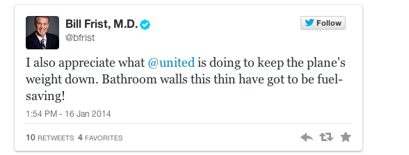 One of the many not-terribly-happy Tweets from former U.S. Senator Bill Frist to United Airlines.