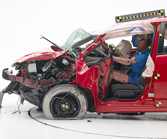 The Honda Fit after being run through the IIHS small overlap test.