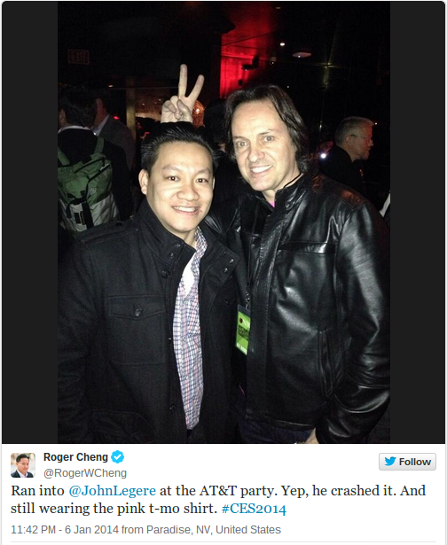 T-Mobile CEO John Legere, right, with CNET's Roger Cheng at the AT&T CES event on Monday night.