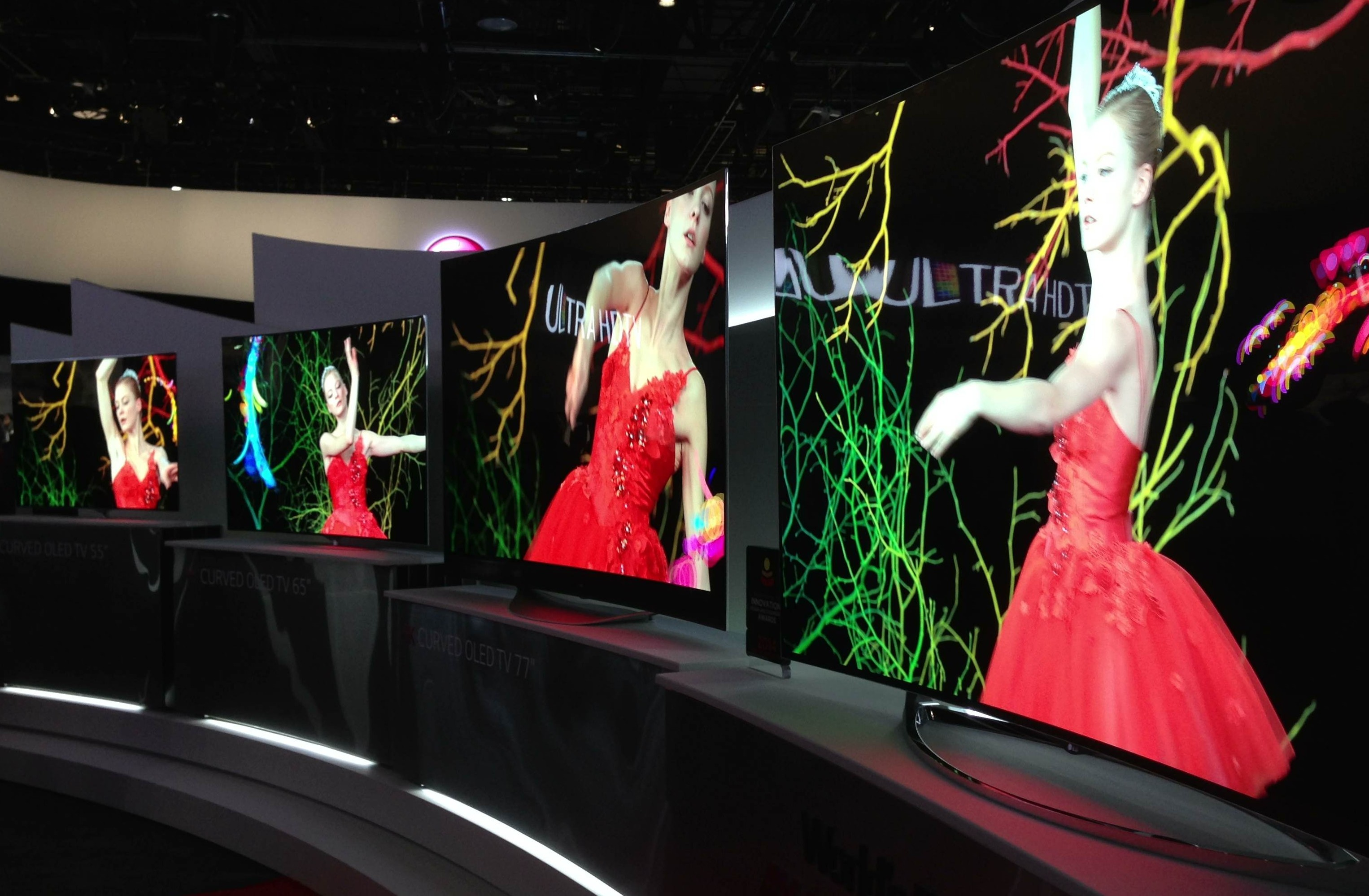 The curved sets in the LG booth at CES.