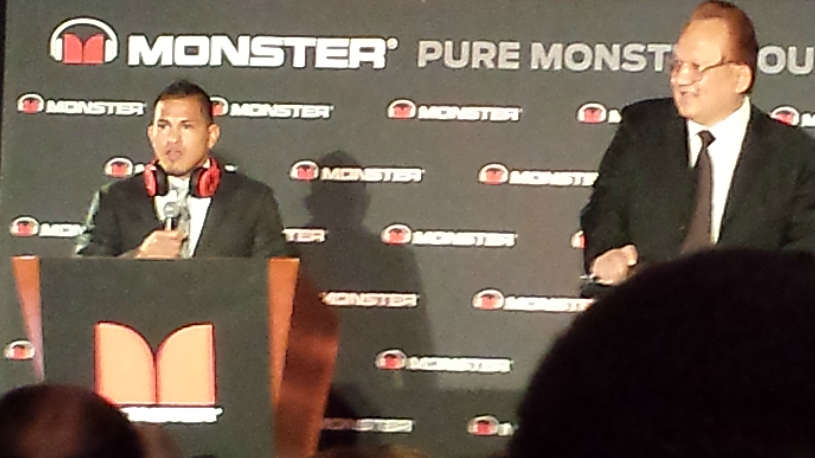 UFC champ Anthony Pettis announcing the Octagon headphones with Monster CEO Noel Lee.