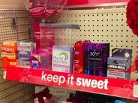 "CVS Valentine's Display ""Keeps It Sweet"" With Candy, Flowers, Condoms, Plan B, Toy Handcuffs"