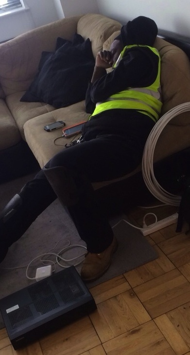 Time Warner Cable Techs Should Know They Will Be Photographed If They Fall Asleep On Job