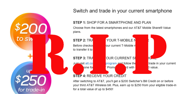 AT&T No Longer Paying For T-Mobile Customers To Switch Providers