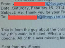 "Dear Five Guys: Don't Copy Customer On E-mail Where You Call Him A ""Douche"""