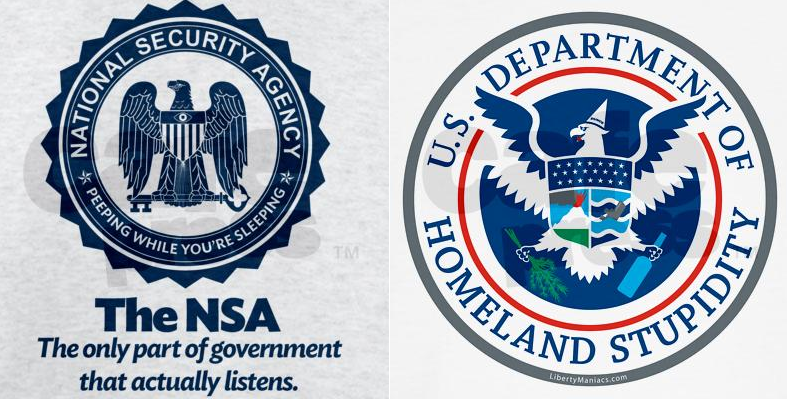 The two logos that resulted in cease-and-desist letters from the NSA and DHS (libertymaniacs.com)