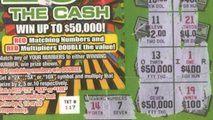 The winning ticket/get out of speeding free card. (Massachusetts State Lottery)