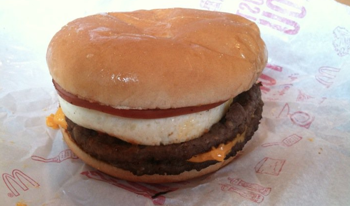 Here's a Mc10:35 -- the Frankenstein's monster created by combining a McDouble and an Egg McMuffin. (photo: acadiel)