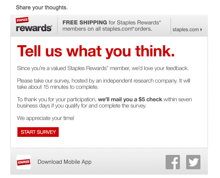 Staples Offers $5 Check To Take Stupid Survey, Won't Give Me $5