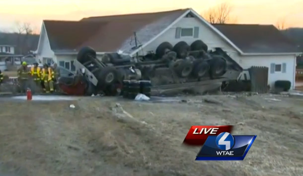 Truck Carrying 6,000 Gallons Of Milk Crashes Into House, Homeowner Probably Cries
