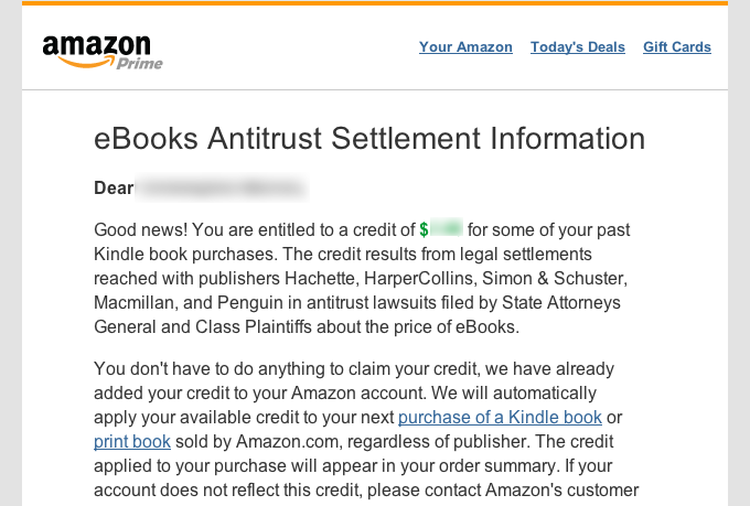 Amazon Begins Issuing Credits From E-Book Price-Fixing Lawsuit