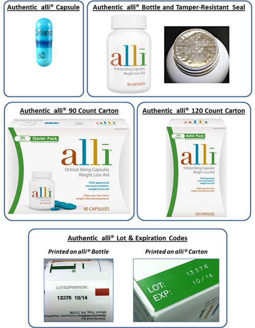 GSK has released these photos of what authentic alli products should look like so that customers can be on the lookout for tampered-with packaging and fake products.